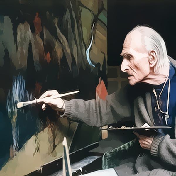 BALTHUS dans l'atelier de son chalet à Rossinière, dans les Alpes suisses, apportant d'ultimes retouches à un