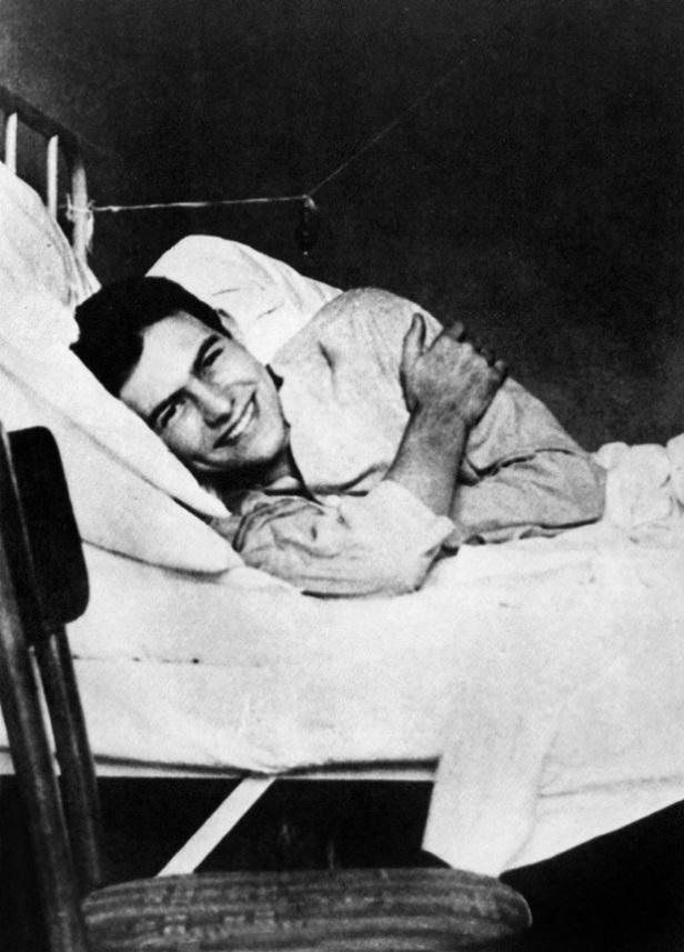 American writer Ernest Hemingway in the Red Cross Hospital in Milan, july 1918