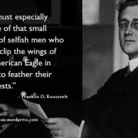 """We must especially beware of that small group of selfish men who would clip the wings of the American Eagle in order to feather their own nests."""