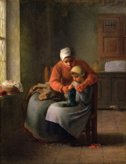 CLK339913 The Knitting Lesson, c.1860 (oil on panel) by Millet, Jean-Francois (1814-75); 41.5x31.9 cm; Sterling & Francine Clark Art Institute, Williamstown, USA; French, out of copyright