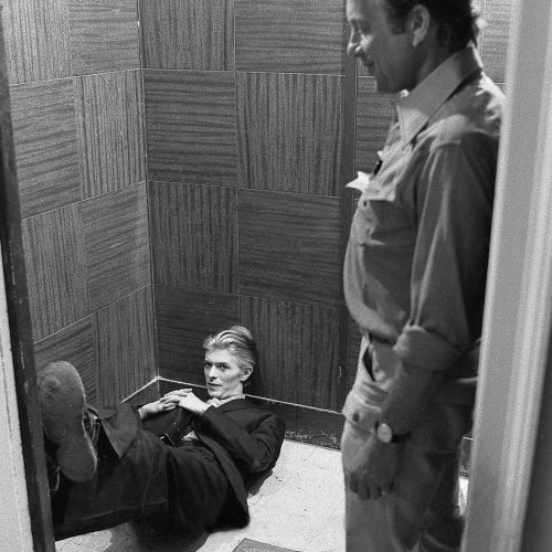 David Bowie and Nicolas Roeg on the set of The Man Who Fell to Earth 1976